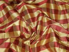 SCHUMACHER FRENCH COUNTRY BUFFALO CHECK SILK FABRIC 10 YARDS BURGUNDY GOLD