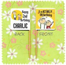 20 PERSONALISED CHARLIE & LOLA CUP CAKE FLAG Party Pick Topper Birthday