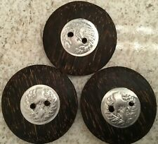 Vintage Three Large Wood Coconut Shell Buttons Art Deco Crafts