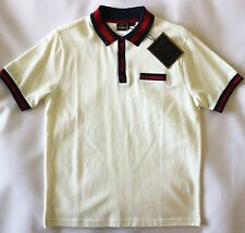 MERC MENS BOLD TIPPING PIQUE POLO SHIRT IN OFF WHITE SIZE M NWT