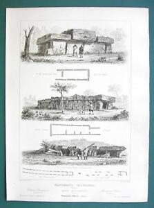 ARCHITECTURE PRINT 1850 - MEGALITH Stone Monuments France Tours Esse