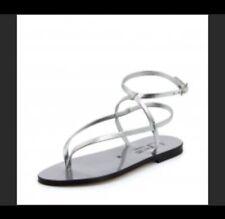 K Jacques Saint Tropez blue metallic ankle wrap sandals 6