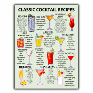 CLASSIC COCKTAIL RECIPES METAL SIGN PLAQUE print Bar Cafe Kitchen Restaurant