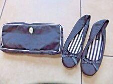 LULU GUINNESS black satin room shoes slippers in bag UK 3-4 BN