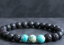 Bracelet pierre de lave & jaspe sediment bleu
