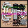 "3"" INCH 76mm UNIVERSAL ALUMINUM INTERCOOLER TURBO PIPE PIPING KIT BLACK HOSE"