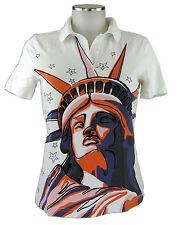 Escada Shirt S 36 Poloshirt weiß Freiheitsstatue und Strass Baumwolle top