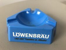 "Vtg Blue Lowenbrau Ashtray Heat Resistant Plastic Triangle Shape 5.5"""