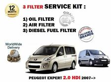 FOR PEUGEOT EXPERT 2.0 HDI TD 2007-  NEW OIL AIR FUEL (3) FILTER SERVICE KIT
