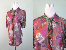 Ladies Vtg Retro 80s Fashion Blogger Chiffon Sheer Embellished Beads Shirt AW15