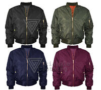 Womens Shiny Polyester Bomber Jacket Puffa Coat Padded Quilted Warm Biker