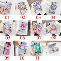 For iPhone 11 Pro Max XS XR 7 8 Plus Shell Flower Pattern Holder Stand TPU Case
