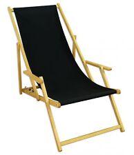 Transat pour jardin Noir Lit soleil bois chaise longue de 10-305 N