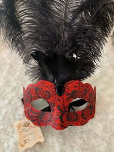 Valentine's Day Red Venetian Woman's Mask Italian Wall Hanging Art Masquerade