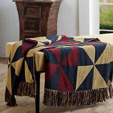 "PROVIDENCE PINWHEEL Woven Cotton Throw 50"" x 60"" Burgundy, Navy Blue & Tan"