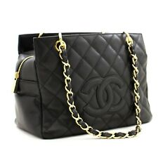 z87 CHANEL Authentic Caviar Chain Shoulder Bag Shopping Tote Black Quilted Purse