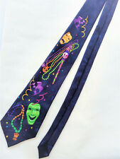 A. Rogers MARDI GRAS Beads Masks Mens Neck TIE Carnival NEW ORLEANS Fat Tuesday