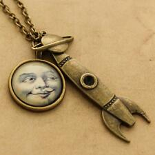 Vintage Moon Rocket Steampunk Cabochon Pendant Necklace - Rockabilly Goth Space