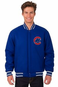 MLB Chicago Cubs JH Design Wool Reversible Jacket 2 Front Logos Royal Blue
