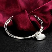 Love Heart Pendant Bracelet 925 Sterling Silver Jewelry Women Wedding Plate Gift