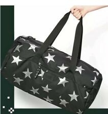 Victoria's Secret Pink Black Silver Stars Gym Duffle Bag New