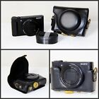 Black Leather Camera Case Bag For Sony DSC- RX100 IV, RX100 III RX100IV RX100III