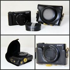 Black Leather Camera Case Bag For Sony Cyber-shot DSC- HX90V HX90 WX500 New