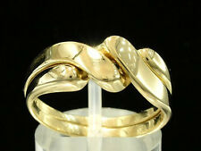 R008 Genuine 9ct SOLID Yellow Gold 2-Band  PUZZLE Wedding Ring size Q