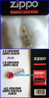 1 X ZIPPO COTTON LIGHTER WADDING FELT 1 x WICK 6 X FLINTS GENUINE PARTS