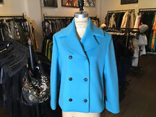 Balenciaga Blue Wool Blend Double Breasted Pea Coat - NWT Runway 2014