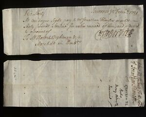 1721 INVERNESS £60- Promissory note to Jonathan Thomson from Forbes