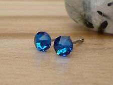Genuine Austrian Crystal Surgical Stainless Steel Studs 4.8mm~ Capri Blue