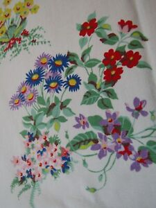 Vintage Tablecloth Floral Lilacs Iris Primroses English Daisies Violets