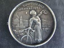 MEDAGLIA SPILLA CONVEGNO CICLISTICO SALUZZO 1903 EROICA DEI BIANCHI OLD CYCLE