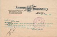 United States Sandwich Manufacturing Co. Logo Kansas 1905 To Bank Letter   39447