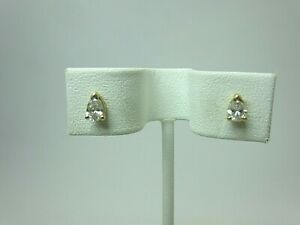 14k Yellow Gold and 0.50 ct Pear Shaped Diamond Stud Earrings