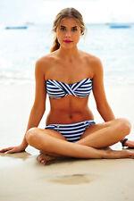 $170 NWT Seafolly Coco Bay Seaview Bandeau High Waist Striped Bikini US 6 UK 10