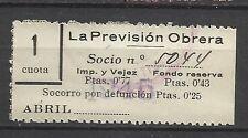 8373-SELLO ESPAÑA CUOTA LA PREVISION OBRERA EN CATALAN Y CASTELLANo 1945