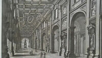 1830s VIEW ROME Interior St. John Lateran Basilica - Antique Print Copperplate