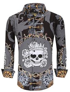 Men PREMIERE Long Sleeve Button Down Dress Shirt FANCY BLACK GRAY KEY SKULL 702N