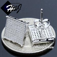 Lab Diamond Bling Stud Earring*E29 Men 925 Sterling Silver Square 10Mm