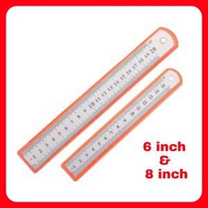 """6"""" & 8"""" Steel Ruler Set Rule 15cm 150mm 20cm 200mm Metric Imperial Scale Metal"""