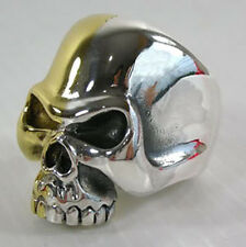 14K YELLOW GOLD SKULL 925 STERLING SILVER RING Sz 11 GOTHIC NEW BIKER ROCKER