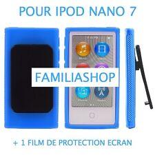 Housse etui coque silicone bleu avec Clip pour iPod Nano 7 7G  + Film protection