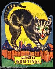Halloween Greetings Scary Black Cat Vintage Full Moon 8 x 10  Wall Art Print