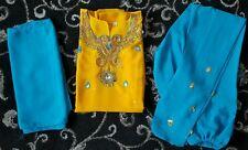 Girl's Yellow & Blue Salwar  Khameez. Embroidery  detail. Short Sleeve