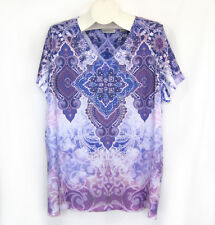 "Avenue 22 24 Top 52"" Bust Mandala Sublimation Rhinestones Jersey Knit Plus Size"