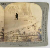 Stereoview Keystone View Co 13327 Roald Amundsen Inspecting Ice Field (O) AS IS