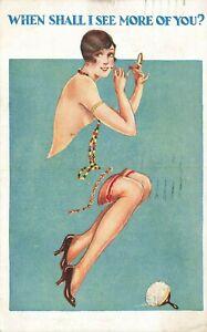Comic Postcard: Nylon Stockings, Garter Belt, Flapper & Compact Make-up Theme