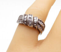 925 Sterling Silver - Vintage Multi-Shape Cubic Zirconia Band Ring Sz 6 - R14871